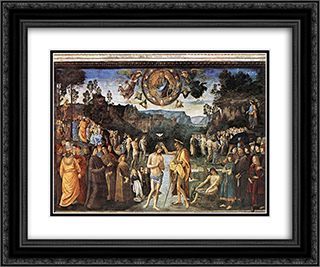 Baptism of Christ 24x20 Black or Gold Ornate Framed and Double Matted Art Print by Pietro Perugino