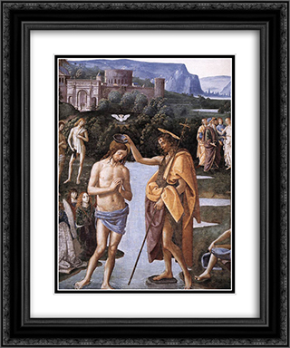 Baptism of Christ [detail: 1] 20x24 Black or Gold Ornate Framed and Double Matted Art Print by Pietro Perugino