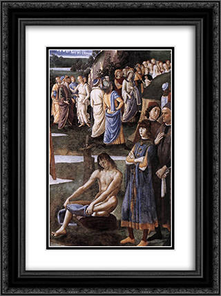 Baptism of Christ [detail: 6] 18x24 Black or Gold Ornate Framed and Double Matted Art Print by Pietro Perugino