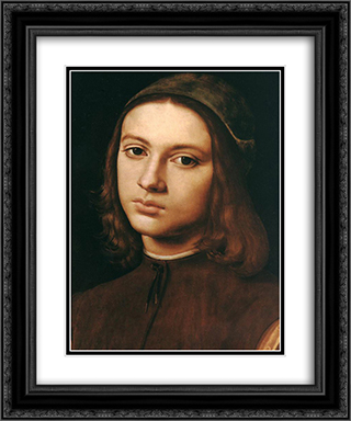 Portrait of a Young Man (detail) 20x24 Black or Gold Ornate Framed and Double Matted Art Print by Pietro Perugino