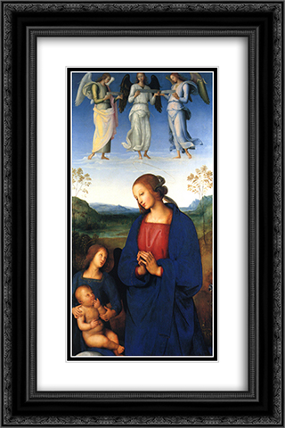 Virgin and Child with Angels 16x24 Black or Gold Ornate Framed and Double Matted Art Print by Pietro Perugino