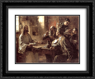 Supper at Emmaus 24x20 Black or Gold Ornate Framed and Double Matted Art Print by Leon Augustin L'Hermitte