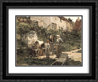 A la Fontaine 24x20 Black or Gold Ornate Framed and Double Matted Art Print by Leon Augustin L'Hermitte