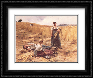 Moissonneurs a Mont'Saint'Pere 24x20 Black or Gold Ornate Framed and Double Matted Art Print by Leon Augustin L'Hermitte