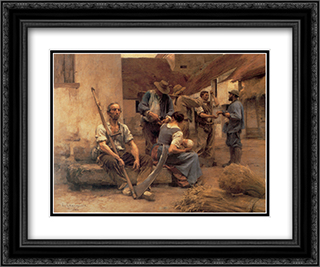 La Paye des moissonneurs 24x20 Black or Gold Ornate Framed and Double Matted Art Print by Leon Augustin L'Hermitte