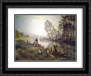 Figures by a Country Stream 24x20 Black or Gold Ornate Framed and Double Matted Art Print by Leon Augustin L'Hermitte