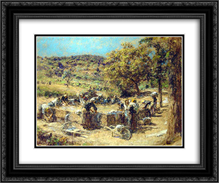 Washday 24x20 Black or Gold Ornate Framed and Double Matted Art Print by Leon Augustin L'Hermitte