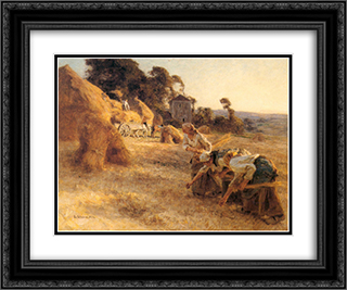 Haymakers 24x20 Black or Gold Ornate Framed and Double Matted Art Print by Leon Augustin L'Hermitte