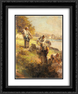 Laveuses le Matin 20x24 Black or Gold Ornate Framed and Double Matted Art Print by Leon Augustin L'Hermitte