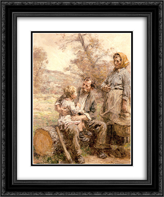 Le Dejeuner du Bucheron 20x24 Black or Gold Ornate Framed and Double Matted Art Print by Leon Augustin L'Hermitte
