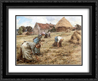 Les Glaneuses 24x20 Black or Gold Ornate Framed and Double Matted Art Print by Leon Augustin L'Hermitte