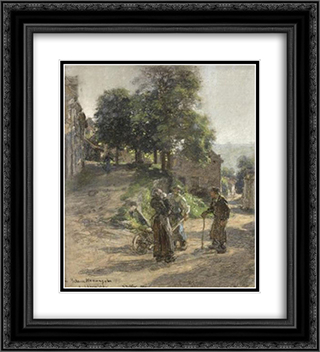 Paysans discutant a Mont Saint pere 20x22 Black or Gold Ornate Framed and Double Matted Art Print by Leon Augustin L'Hermitte