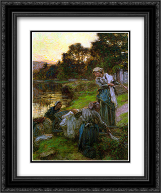 Laveuses le soir 20x24 Black or Gold Ornate Framed and Double Matted Art Print by Leon Augustin L'Hermitte