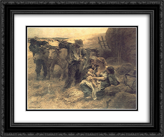 La Famille 24x20 Black or Gold Ornate Framed and Double Matted Art Print by Leon Augustin L'Hermitte
