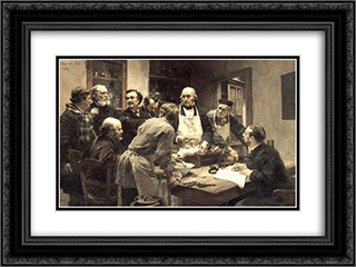 La Lecon de Claude Bernard 24x18 Black or Gold Ornate Framed and Double Matted Art Print by Leon Augustin L'Hermitte