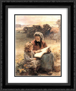 La Lecon de Lecture 20x24 Black or Gold Ornate Framed and Double Matted Art Print by Leon Augustin L'Hermitte