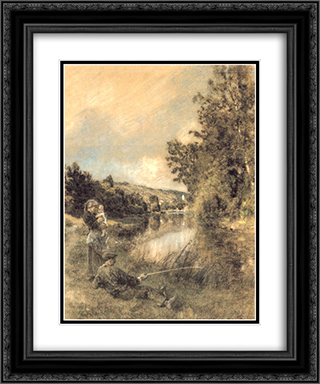 La Marne 20x24 Black or Gold Ornate Framed and Double Matted Art Print by Leon Augustin L'Hermitte