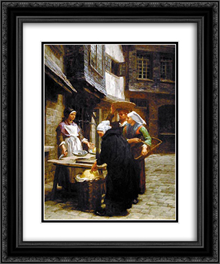 The Butter Market 20x24 Black or Gold Ornate Framed and Double Matted Art Print by Leon Augustin L'Hermitte