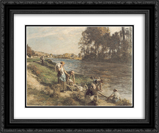Laveuses au bord de la Marne 24x20 Black or Gold Ornate Framed and Double Matted Art Print by Leon Augustin L'Hermitte