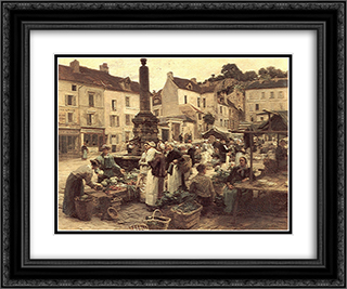 Le Marche de Chateau'Thierry 24x20 Black or Gold Ornate Framed and Double Matted Art Print by Leon Augustin L'Hermitte