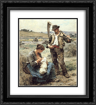Maternite ou L'Heureuse Famille 20x22 Black or Gold Ornate Framed and Double Matted Art Print by Leon Augustin L'Hermitte
