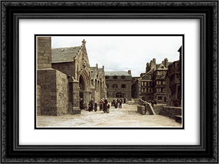 Sortie de l'eglise Saint'Melaine a Morlaix 24x18 Black or Gold Ornate Framed and Double Matted Art Print by Leon Augustin L'Hermitte