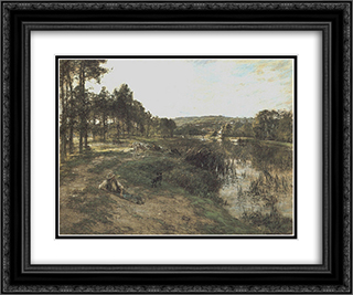 Troupeau au bord de l'eau 24x20 Black or Gold Ornate Framed and Double Matted Art Print by Leon Augustin L'Hermitte