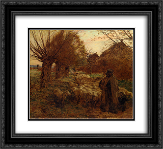 Le berger et son troupeau 22x20 Black or Gold Ornate Framed and Double Matted Art Print by Leon Augustin L'Hermitte
