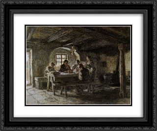 The Meal 24x20 Black or Gold Ornate Framed and Double Matted Art Print by Leon Augustin L'Hermitte