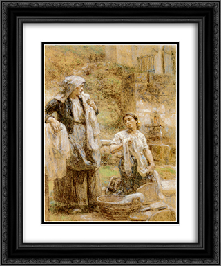 The Washerwomen 20x24 Black or Gold Ornate Framed and Double Matted Art Print by Leon Augustin L'Hermitte