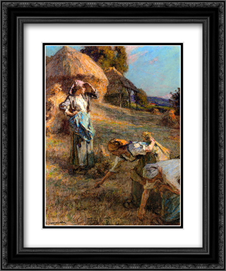 The Haymakers 20x24 Black or Gold Ornate Framed and Double Matted Art Print by Leon Augustin L'Hermitte