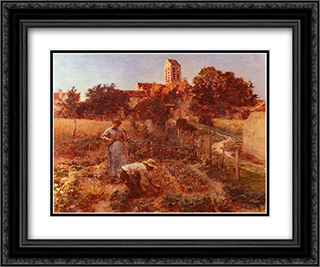 Au Jardin, Charteves, Pres De Mont'Saint'Pere 24x20 Black or Gold Ornate Framed and Double Matted Art Print by Leon Augustin L'Hermitte