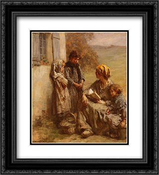 La Lecture 20x22 Black or Gold Ornate Framed and Double Matted Art Print by Leon Augustin L'Hermitte