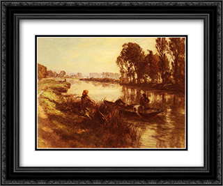 Au Bord De La Riviere 24x20 Black or Gold Ornate Framed and Double Matted Art Print by Leon Augustin L'Hermitte
