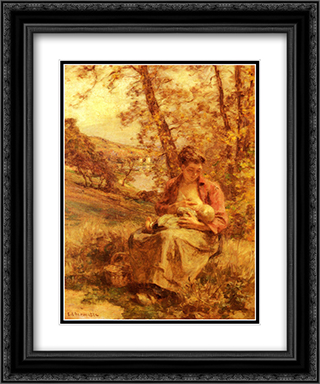 Jeune Mere 20x24 Black or Gold Ornate Framed and Double Matted Art Print by Leon Augustin L'Hermitte