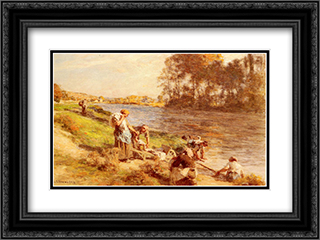 Lavandieres Au Bord De La Marne 24x18 Black or Gold Ornate Framed and Double Matted Art Print by Leon Augustin L'Hermitte