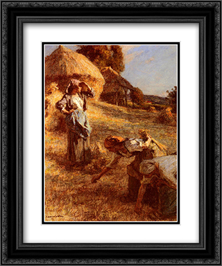 Haymakers 20x24 Black or Gold Ornate Framed and Double Matted Art Print by Leon Augustin L'Hermitte