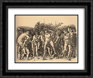 Bacchanal with Silenus 24x20 Black or Gold Ornate Framed and Double Matted Art Print by Andrea Mantegna