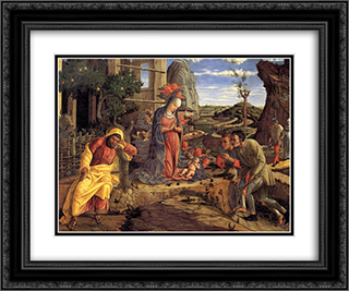 The Adoration of the Shepherds 24x20 Black or Gold Ornate Framed and Double Matted Art Print by Andrea Mantegna