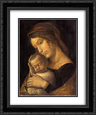 Madonna with Sleeping Child 20x24 Black or Gold Ornate Framed and Double Matted Art Print by Andrea Mantegna