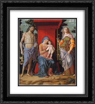 Virgin and Child with the Magdalen and St John the Baptist 20x22 Black or Gold Ornate Framed and Double Matted Art Print by Andrea Mantegna