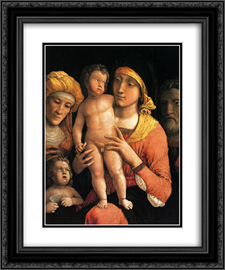 The Holy Family with Saint Elizabeth and the Infant John the Baptist 20x24 Black or Gold Ornate Framed and Double Matted Art Print by Andrea Mantegna