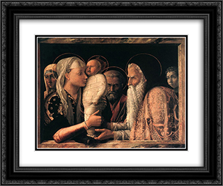 Presentation at the Temple 24x20 Black or Gold Ornate Framed and Double Matted Art Print by Andrea Mantegna