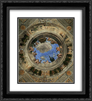 Ceiling Oculus 20x22 Black or Gold Ornate Framed and Double Matted Art Print by Andrea Mantegna