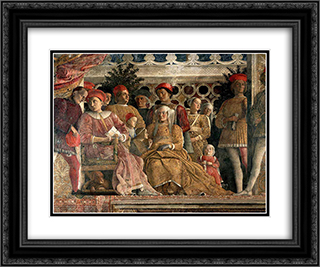 The Court of Mantua 24x20 Black or Gold Ornate Framed and Double Matted Art Print by Andrea Mantegna