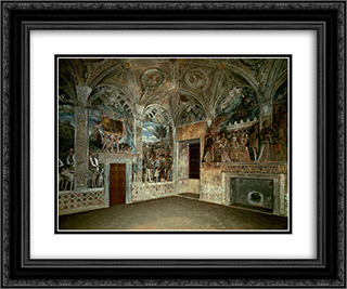 View of the West and North Walls 24x20 Black or Gold Ornate Framed and Double Matted Art Print by Andrea Mantegna