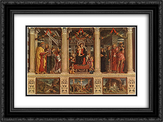 Altarpiece 24x18 Black or Gold Ornate Framed and Double Matted Art Print by Andrea Mantegna