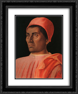 Portrait of the Protonary Carlo de' Medici 20x24 Black or Gold Ornate Framed and Double Matted Art Print by Andrea Mantegna