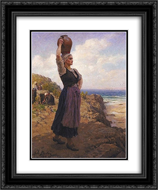 A la Fontaine 20x24 Black or Gold Ornate Framed and Double Matted Art Print by Jules Breton