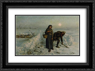 Sur la Route en Hiver, Artois 24x18 Black or Gold Ornate Framed and Double Matted Art Print by Jules Breton